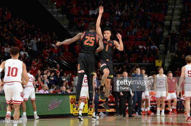 Anthony Cowan Jr #1 of the Maryland Terrapins celebrates with Jalen Smith during the game against the Indiana Hoosiers at Xfinity Center on January 4...