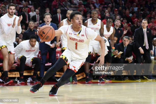 Anthony Cowan Jr #1 of the Maryland Terrapins dribbles the ball during a college basketball game against the Wisconsin Badgers at the XFinity Center...