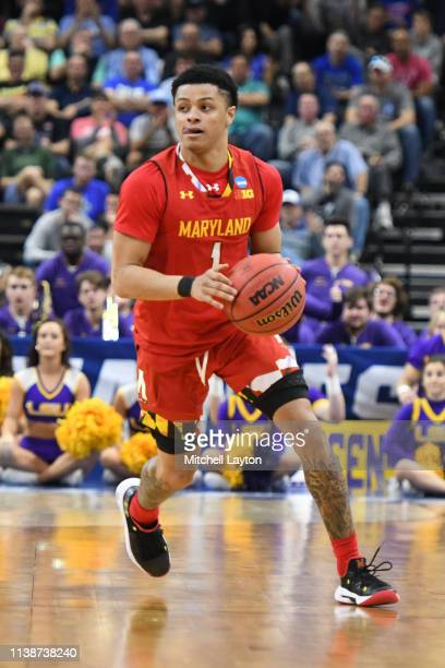 Anthony Cowan Jr #1 of the Maryland Terrapins dribbles the ball during the Second Round of the NCAA Basketball Tournament against the LSU Tigers at...