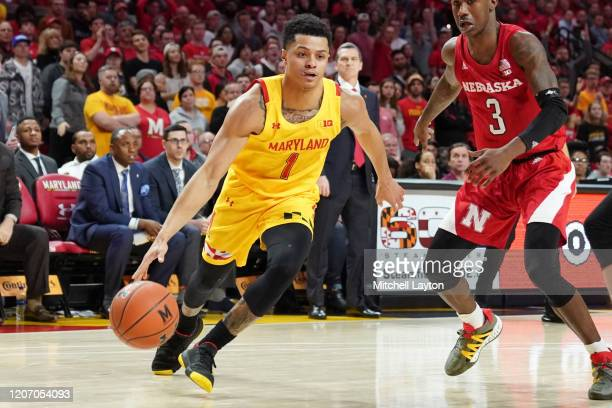 Anthony Cowan Jr #1 of the Maryland Terrapins dribbles the ball during a college basketball game against the Nebraska Cornhuskers at the Xfinity...