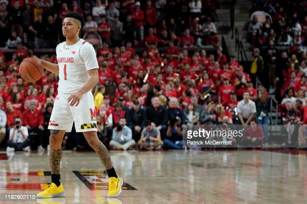 Anthony Cowan Jr #1 of the Maryland Terrapins dribbles the ball in the second half against the Notre Dame Fighting Irish at Xfinity Center on...