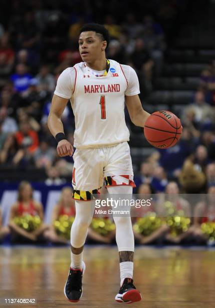 Anthony Cowan Jr #1 of the Maryland Terrapins dribbles the ball against the Belmont Bruins during the first round of the 2019 NCAA Men's Basketball...