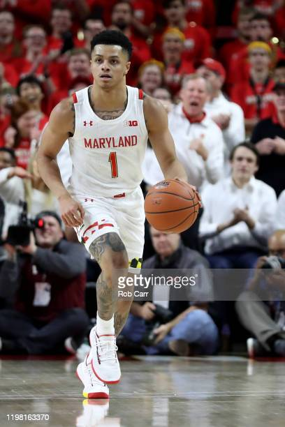 Anthony Cowan Jr #1 of the Maryland Terrapins dribbles the ball against the Ohio State Buckeyes at Xfinity Center on January 07 2020 in College Park...