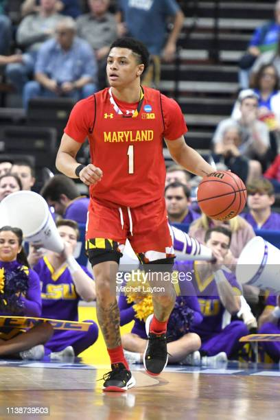 Anthony Cowan Jr #1 of the Maryland Terrapins dribbles up court during the Second Round of the NCAA Basketball Tournament against the LSU Tigers at...