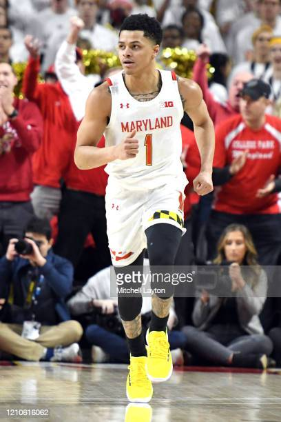 Anthony Cowan Jr #1 of the Maryland Terrapins dribbles up court during a college basketball game against the Maryland Terrapins at the Xfinity Center...