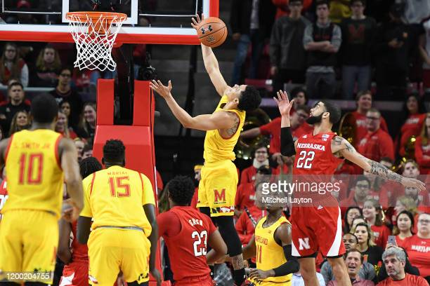 Anthony Cowan Jr #1 of the Maryland Terrapins drives to the basket in the first half during a college basketball game against the Nebraska...