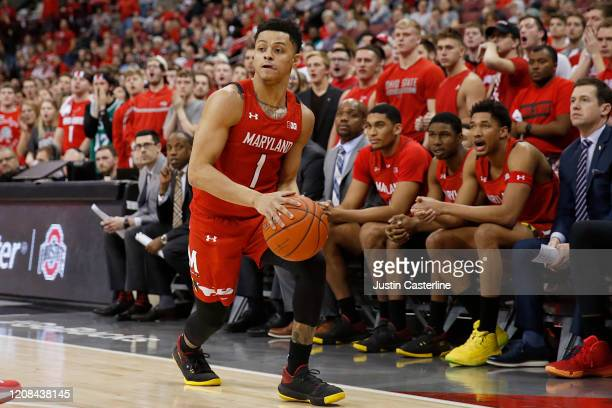 Anthony Cowan Jr #1 of the Maryland Terrapins drives to the basket in the game against the Ohio State Buckeyes at Value City Arena on February 23...