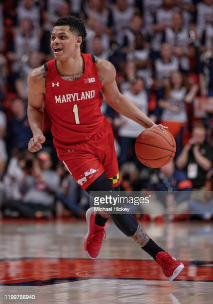 Anthony Cowan Jr #1 of the Maryland Terrapins drives to the basket during the game against the Illinois Fighting Illini at State Farm Center on...