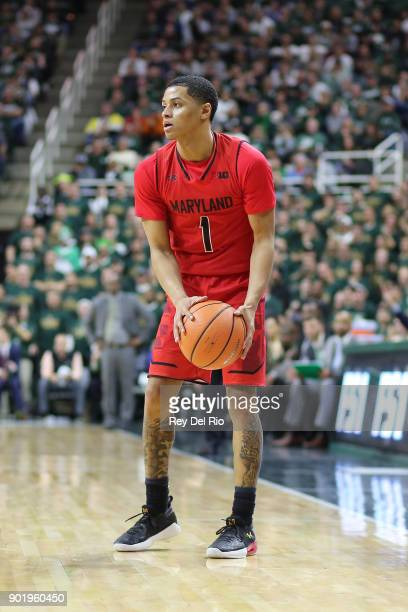 Anthony Cowan Jr #1 of the Maryland Terrapins during the game against the Michigan State Spartans at Breslin Center on January 4 2018 in East Lansing...
