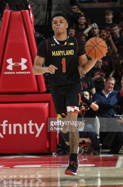 Anthony Cowan Jr #1 of the Maryland Terrapins handles the ball against the Virginia Cavaliers at Xfinity Center on November 28 2018 in College Park...