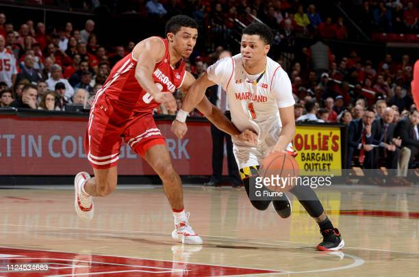 Anthony Cowan Jr #1 of the Maryland Terrapins handles the ball against the Wisconsin Badgers at Xfinity Center on January 14 2019 in College Park...