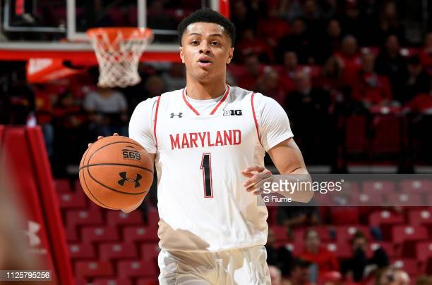 Anthony Cowan Jr #1 of the Maryland Terrapins handles the ball against the Nebraska Cornhuskers at Xfinity Center on January 2 2019 in College Park...