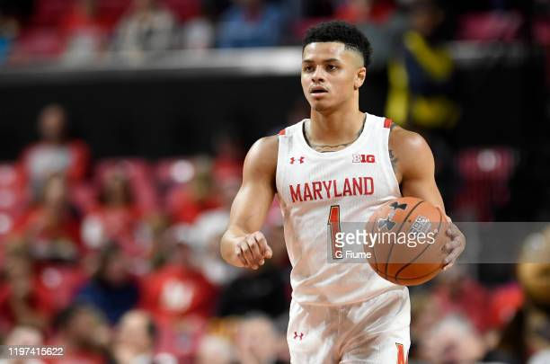 Anthony Cowan Jr #1 of the Maryland Terrapins handles the ball against the Bryant University Bulldogs at Xfinity Center on December 29 2019 in...