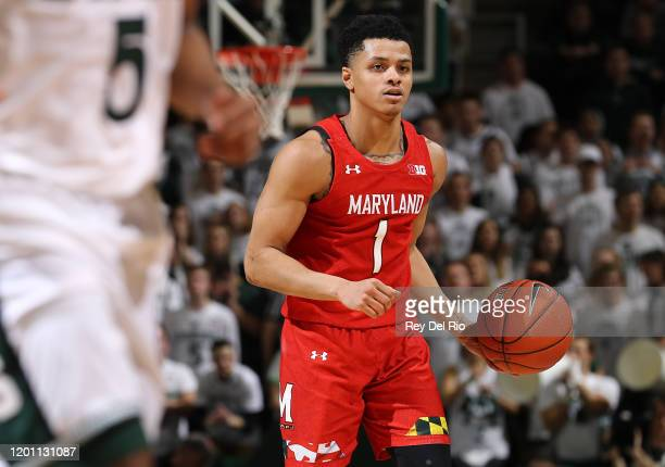 Anthony Cowan Jr #1 of the Maryland Terrapins handles the ball own the second half of the game against the Michigan State Spartans at the Breslin...