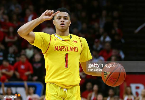 Anthony Cowan Jr #1 of the Maryland Terrapins in action against the Rutgers Scarlet Knights during a game at Rutgers Athletic Center on January 5...