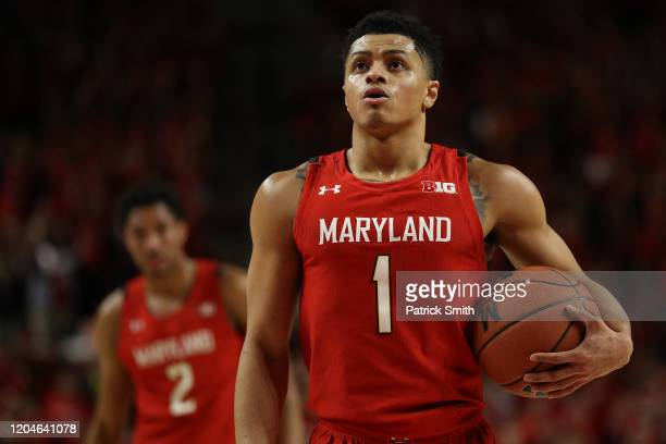 Anthony Cowan Jr #1 of the Maryland Terrapins in action against the Iowa Hawkeyes during at Xfinity Center on January 30 2020 in College Park Maryland