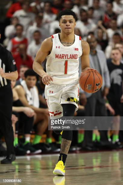 Anthony Cowan Jr #1 of the Maryland Terrapins in action against the Michigan State Spartans during the second half at Xfinity Center on February 29...