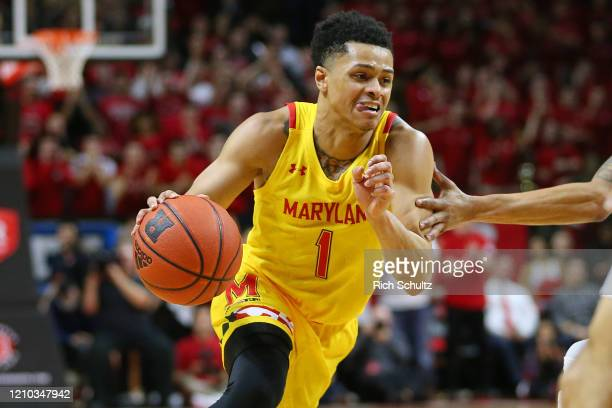 Anthony Cowan Jr #1 of the Maryland Terrapins in action against the Rutgers Scarlet Knights during a college basketball game at Rutgers Athletic...