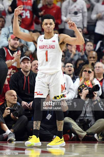 Anthony Cowan Jr #1 of the Maryland Terrapins looks on during a college basketball game against the Maryland Terrapins at the Xfinity Center on...
