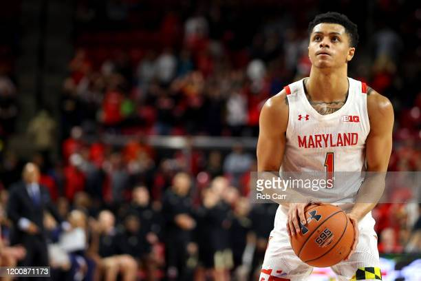 Anthony Cowan Jr #1 of the Maryland Terrapins shoots a free throw against the Purdue Boilermakers at Xfinity Center on January 18 2020 in College...