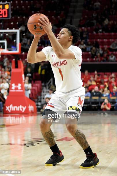 Anthony Cowan Jr #1 of the Maryland Terrapins shoots the ball against the Holy Cross Crusaders at Xfinity Center on November 5 2019 in College Park...