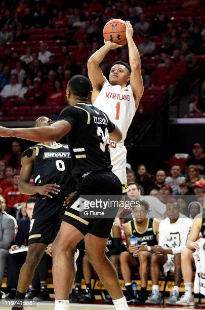 Anthony Cowan Jr #1 of the Maryland Terrapins shoots the ball against the Bryant University Bulldogs at Xfinity Center on December 29 2019 in College...
