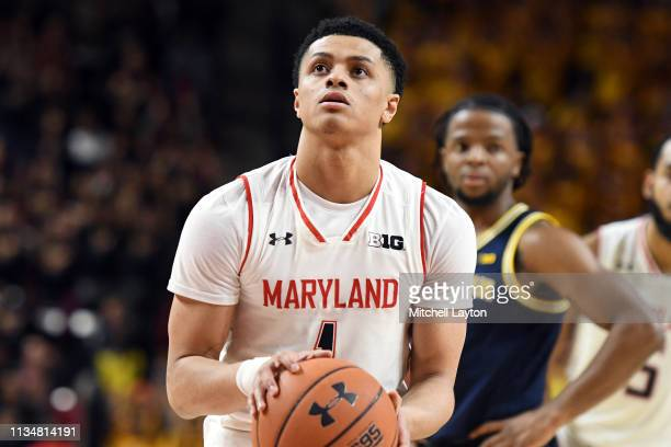 Anthony Cowan Jr #1 of the Maryland Terrapins takes a foul shot during a college basketball game against the Michigan Wolverines at the XFinity...
