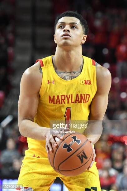 Anthony Cowan Jr #1 of the Maryland Terrapins takes a foul shot during a college basketball game against the Nebraska Cornhuskers at the Xfinity...