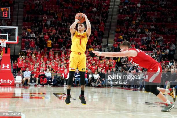 Anthony Cowan Jr #1 of the Maryland Terrapins takes a jump shot during a college basketball game against the Nebraska Cornhuskers at the Xfinity...