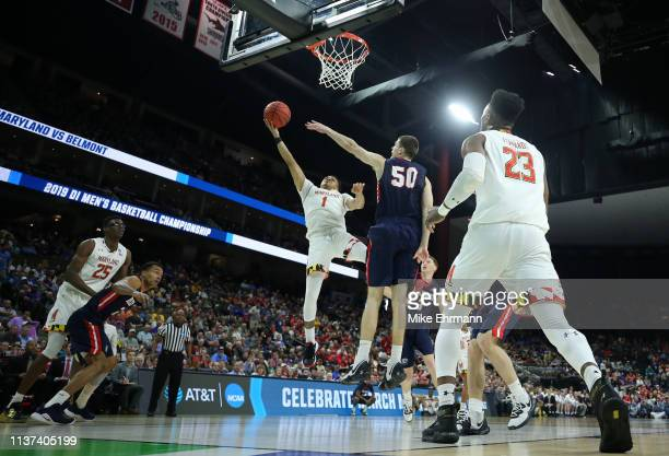 Anthony Cowan Jr #1 of the Maryland Terrapins takes a shot against Seth Adelsperger of the Belmont Bruins in the first half during the first round of...