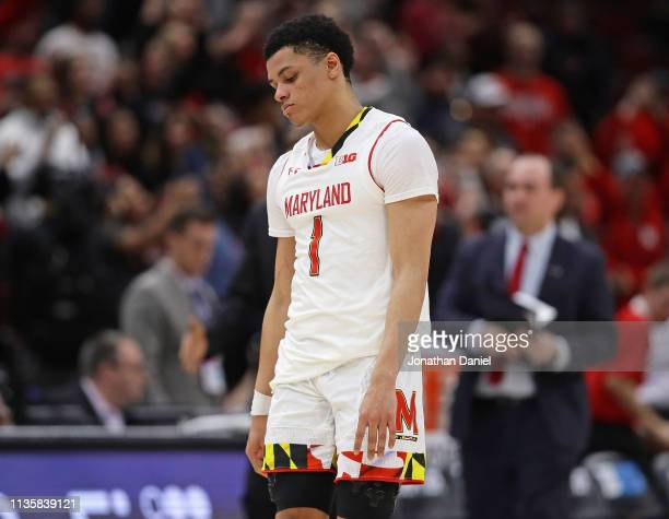 Anthony Cowan Jr #1 of the Maryland Terrapins walks off the court after a loss to the Nebraska Cornhuskers at the United Center on March 14 2019 in...