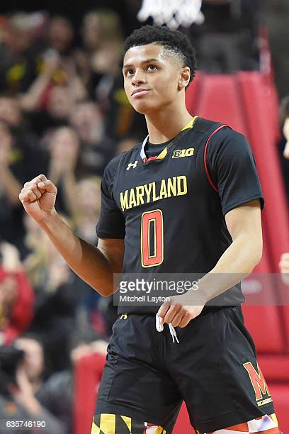 Anthony Cowan of the Maryland Terrapins celebrates a shot during a college basketball game against the Oklahoma State Cowboys at the Xfinity Center...