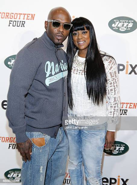 Anthony Criss and Cicely Evans attend Forgotten Four The Integration Of Pro Football at The New York Times Center on September 17 2014 in New York...