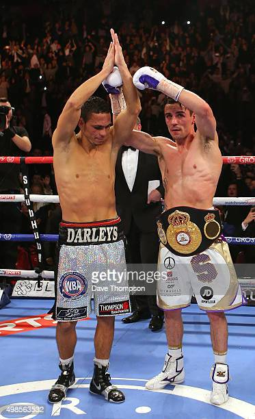 Anthony Crolla and Darleys Perez after their WBA World Lightweight Championship bout at the Manchester Arena on November 21 2015 in Manchester England