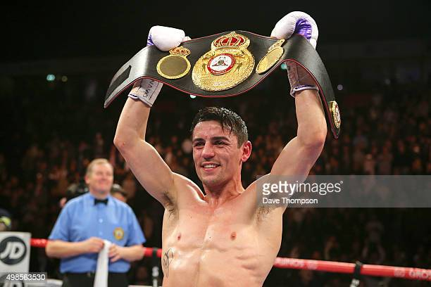 Anthony Crolla celebrates beating Darleys Perez during their WBA World Lightweight Championship bout at the Manchester Arena on November 21 2015 in...