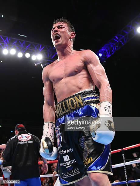 Anthony Crolla celebrates beating Ismael Barroso to win the WBA World Lightweight Championship fight between Anthony Crolla and Ismael Barroso at...