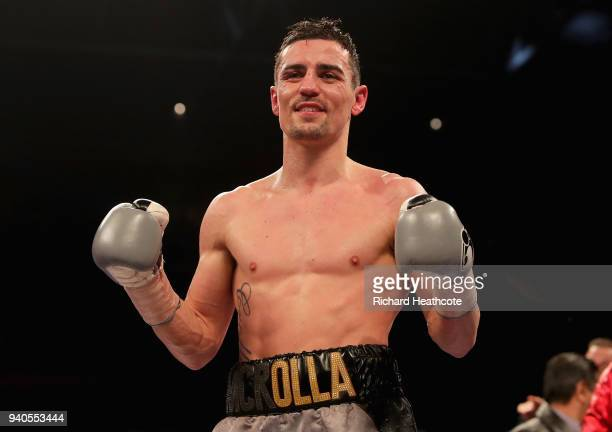 Anthony Crolla celebrates victory after his Lightweight fight against Edson Ramirez Lightweight fight at Principality Stadium on March 31 2018 in...