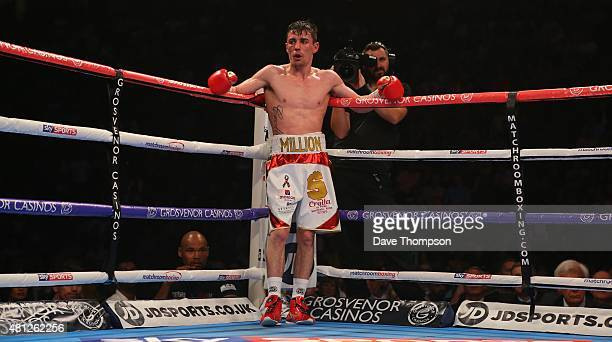 Anthony Crolla during this WBA World Lightweight Championship contest against Darleys Perez at the Manchester Arena on July 18 2015 in Manchester...