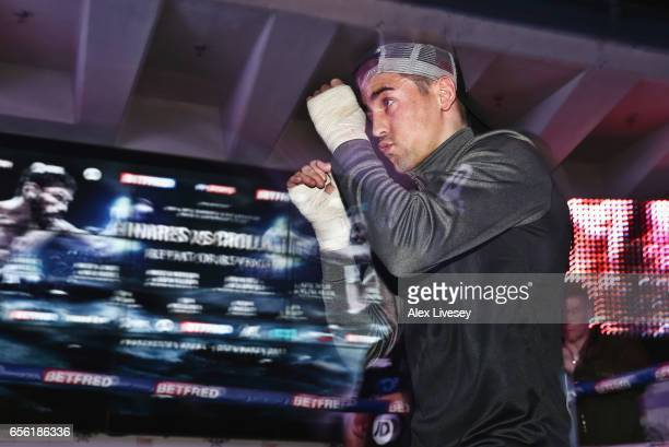 Anthony Crolla in action during a public workout ahead of his fight against Jorge Linares at the National Football Museum on March 21 2017 in...
