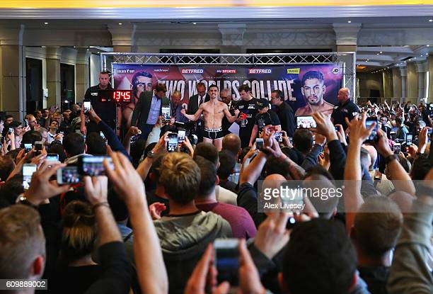 Anthony Crolla in the media spotlight as he attends the WeighIn ahead of the Lightweight World title fight against Jorge Linares at Radisson...