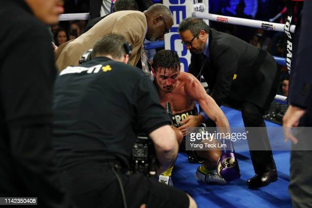 Anthony Crolla is tended to by working staff after getting knocked out by Vasiliy Lomachenko during their WBA/WBO lightweight title bout at Staples...