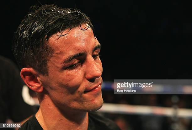 Anthony Crolla looks dejected after defeat to Jorge Linares in their contest for WBA WBC Diamond and Ring Magazine Lightweight World Titlesat...