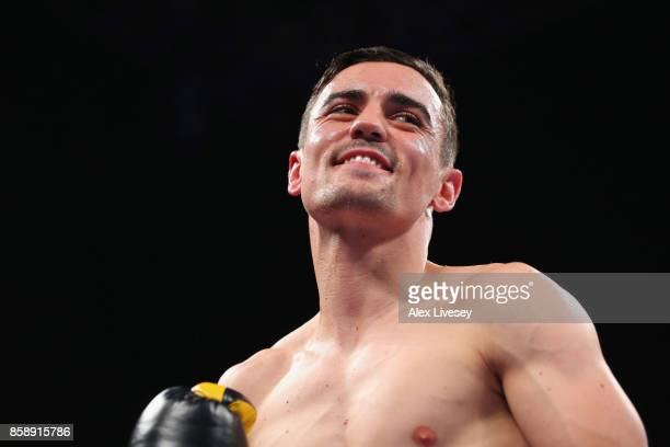 Anthony Crolla looks on prior to his Lightweight contest against Ricky Burns at Manchester Arena on October 7 2017 in Manchester England