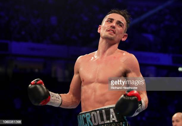 Anthony Crolla of England celebrates victory over Daud Yordan of Indonesia after the Final Eliminator For WBA World Lightweight Title fight between...