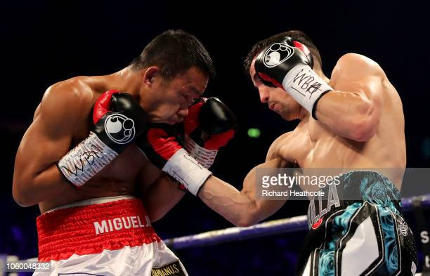 Anthony Crolla of England punches Daud Yordan of Indonesia during the Final Eliminator For WBA World Lightweight Title fight between Anthony Crolla...