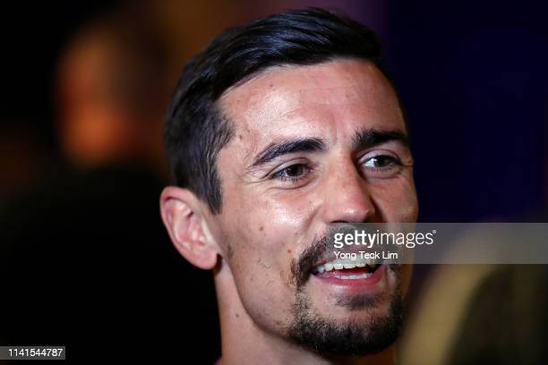 Anthony Crolla of Great Britain fields questions from the media after a workout at Ukrainian Cultural Center on April 09 2019 in Los Angeles...