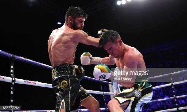 Anthony Crolla of Great Britain fights Jorge Linares of Venezuela during the WBC Diamand and Ring Magazine Lightweight Championship rematch between...
