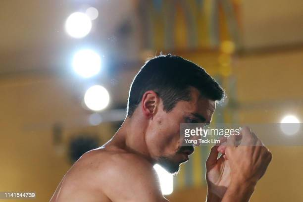 Anthony Crolla of Great Britain works out at Ukrainian Cultural Center on April 09 2019 in Los Angeles California