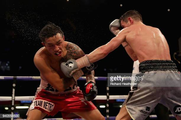 Anthony Crolla punches Edson Ramirez during there Lightweight fight at Principality Stadium on March 31 2018 in Cardiff Wales