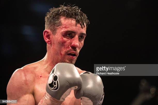 Anthony Crolla reacts during his Lightweight fight against Edson Ramirez Lightweight fight at Principality Stadium on March 31 2018 in Cardiff Wales